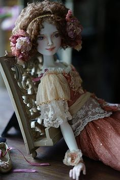 "Adele. Porcelain doll by Oksana Saharova. Collection ""Muses by Alphonse Mucha"". 65cm"