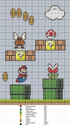 grilles point de croix et cie: Grille point de croix Mario