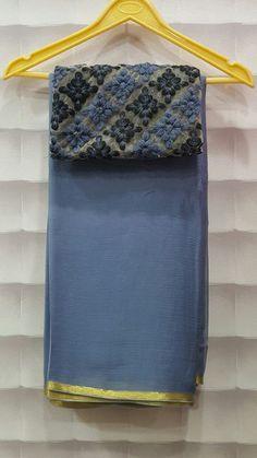 Pure wrinkle chiffon sarees with designer blouses Georgette Saree Party Wear, Plain Georgette Saree, Plain Saree, Plain Chiffon Saree, Cotton Saree, Simple Sarees, Trendy Sarees, Fancy Sarees, Jute