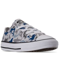 Take your active kiddo's everyday casual look to new heights in the Converse Little Boys Chuck Taylor All Star Shark Bite Ox Low Top Casual Sneakers. Featuring an allover shark print on the upper, these sneakers are killer! Boys Converse, Converse Style, New Converse, Converse Chuck Taylor, Running Sneakers, Casual Sneakers, Casual Shoes, High Top Sneakers, Star Logo