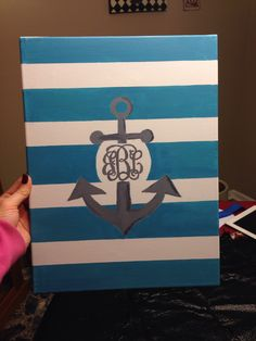 Monogrammed anchor canvas, DIY