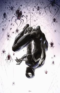 Black Suit Spider-Man by Clayton Crain Spiderman Black Suit, Spiderman Art, Amazing Spiderman, Spiderman Symbiote, Marvel Dc, Marvel Heroes, Captain Marvel, Dc Comics Superheroes, Marvel Comics Art