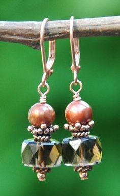 Kupfer Ohrringe mit Zuchtperlen und Rauchquarz - copper earrings with freshwater pearls and smokey quartz