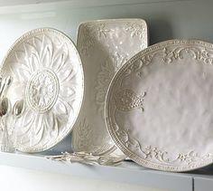 white dish, serving pieces, serv platter, potteri barn, plate