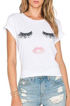 Short Sleeve Eyelash and Lip Print T-Shirt