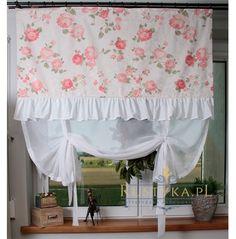 Romantyczna roletka kwiaty bawełna Romantic Kitchen, Shabby Chic Kitchen, Cottage Chic, Yellow Flowers, Valance Curtains, Interior, Design, Home Decor, Style