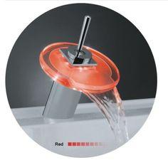 Светодиодные стекла Водопад кран температуры контролировать изменение цвета света легкими касаниями круглые стекла смеситель