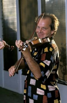 """Jack Nicholson learning to play the violin for """"The Witches of Eastwick. Hollywood Actor, Hollywood Actresses, Actors & Actresses, You Don't Know Jack, Anjelica Huston, Star Wars, Old Movie Stars, Kevin Spacey, Jackie Chan"""