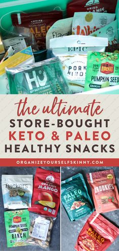 The Ultimate Store-Bought Keto and Paleo Healthy Snacks | Healthy Weight Loss Snacks - looking for some low carb, healthy snacks without having to put in the time to making them at home? If you're looking for some of the best store-bought keto snacks out there, these are some of my favorites and go-to's! Organize Yourself Skinny | Low Calorie Snacks | Healthy Sweet and Savory Snacks | How To Lose Weight #snacks #ketodiet #paleodiet Healthy Low Carb Snacks, Healthy Freezer Meals, Low Calorie Snacks, Savory Snacks, Healthy Snacks For Kids, Keto Snacks, Healthy Weight, Snacks Recipes, Healthy Eating