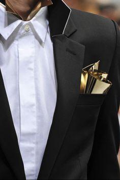 sculptural gold pocket square