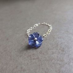 Dainty Chain Ring Carved Gemstone Flower by IntuitiveJewellery, $26.00