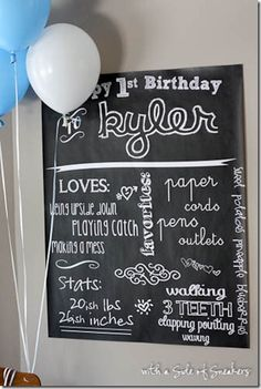 Baby's First Birthday Chalkboard Style Poster