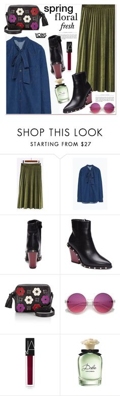 """""""Plated skirt"""" by paculi ❤ liked on Polyvore featuring Rebecca Minkoff, NARS Cosmetics, Dolce&Gabbana, yoins, yoinscollection and loveyoins"""