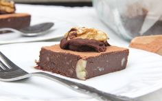 These raw brownies are made from cacao powder, Medjool dates, walnuts, and Brazil nuts.