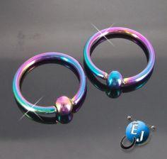 "New 16G Rainbow Titanium 3/8"" CBR Nipple Ear Eyebrow Rings Body Jewelry"