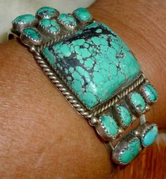 Vintage 1950s Estate Old Pawn Blue Turquoise & Sterling Rodeo Cuff Bracelet