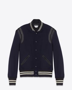 Saint Laurent TEDDY JACKET IN Black Virgin Wool And Off White LEATHER