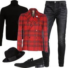Maglione Sisley a collo alto, dalla vestibilità stretta, jeans slim alla caviglia, giacca di flanella in fantasia scozzese, mocassini in Nubuk e cappello. Per le vostre serate speciali, questo look vi farà davvero notare.