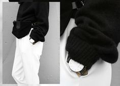 Outfit details // Black top white pants watch // Blogger