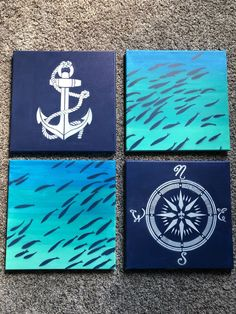 Not for sale on Mercari Nautical Canvas Art, Nautical Painting, Ocean Theme Decorations, Ocean Themes, Small Canvas Paintings, Easy Paintings, Diy Painting, Painting & Drawing, Dream Catcher Wallpaper Iphone