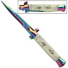 IL Grande Italian Milano Stiletto Titanium Pearl Automatic Knife