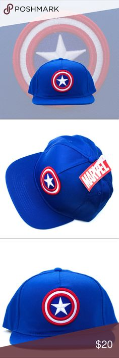 🆕 Captain America Baseball Cap Royal blue. Adjustable. One size fits most. Please ask if you have questions. Hero. Comic. Cosplay. Costume. Cartoon. Fantasy. Sci-fi. Science fiction. America. American. Avengers. Movie. Adventure. Marvel Accessories Hats