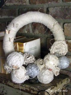 Mixed Media #Wreath - neat idea, I think it would look better if the ball sizes were smaller, they look a little large for the wreath size. i like the mix though!