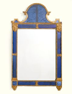 A Swedish gilt-lead, gilt-gessoed and etched blue-glass mirror in the manner of Burchard Precht first half 18th Century - Sotheby's