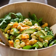 What a great salad! This tropical Hawaiian Salad is made with greens, mangos, avocados, nuts, onions and apples all of which is tossed in an awesome dressing . Enjoy!