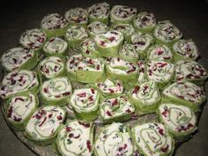 Cranberry Cream Cheese Pinwheels...on spinach wraps, looks like a great Christmas appetizer.