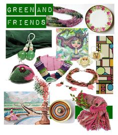 """Green and Friends"" by clschmauder ❤ liked on Polyvore featuring interior, interiors, interior design, home, home decor, interior decorating, Home, jewelry, bags and accessories"