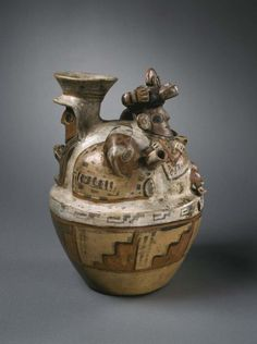 Vessel with Human Figures, AD. 1-650, earthenware with colored slips and resist decoration,Peru, Northern highlands, Recuay