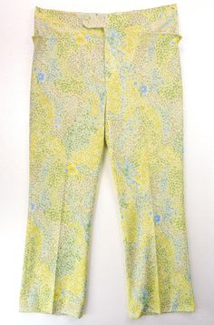 Vintage 70s Tiny Yellow Floral Print Novelty Mens Ugly Disco Golf Pants 38x30…