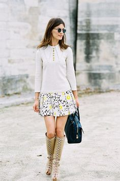 tall boots with a flouncy skirt #chic