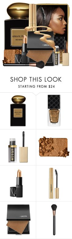 """Melted Gold"" by pusja76 ❤ liked on Polyvore featuring beauty, Giorgio Armani, Gucci, Stila, Too Faced Cosmetics, NARS Cosmetics, Napoleon Perdis, Trish McEvoy, MAC Cosmetics and GoldBeauty"