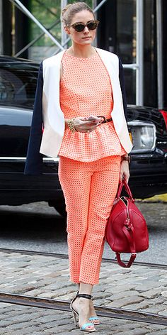 MSGM orange pants with a matching peplum top, a two-tone DVF blazer, baby-blue Tibi heels