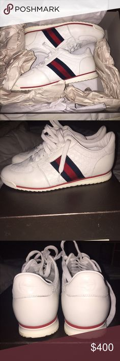 Gucci sneakers Gucci sneakers.. comes with original box. Size 41 ( us 8) men's. Excellent condition. No creases, smudges or dirty. Box kept! Gucci Shoes Sneakers