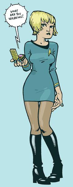 Star Trek: Kirk here. by Philip J. Science Fiction, Doctor Who Comics, Star Trek Images, Girls In Mini Skirts, Film Images, Star Trek Universe, Big Star, Illustrations, Anime Comics