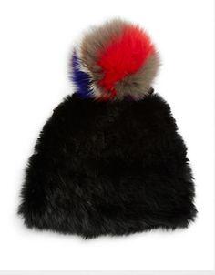 002dd3bbbc8 Surell Rabbit Fur Tuque with Fox Fur Pom-Pom