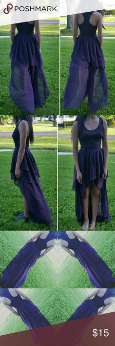 XXS Petite semi formal dress Adorable dress. XXS, my daughter is a 0/1 & we could barely zip this up. Purple with chiffon flowy skirt. Dresses High Low