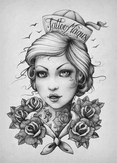 Katalin Berinkey - Sailor girl - FINE HEART CUSTOM INK https://www.facebook.com/FineHeartCustomInk