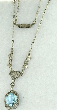 ART DECO 1920'S ANTIQUE STERLING SILVER FILIGREE LAVALIERE NECKLACE