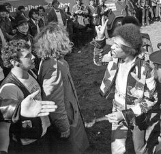 Jimi Hendrix arrives at his last concert in Isle of Fehmarn in Germany, 1970.