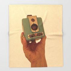 #Society6 #art #decor #ThrowBlankets Blue Kodak Brownie...