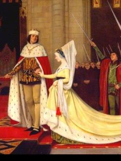 Detail of painting, Edward IV and his queen Elizabeth Woodville at Reading Abbey 1464.