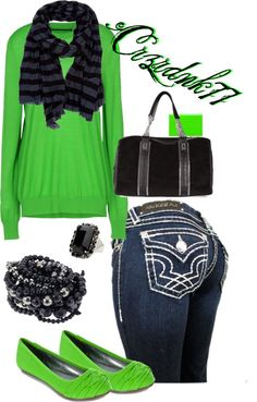 """""""Neon Green and Black"""" by crzrdnk77 on Polyvore"""