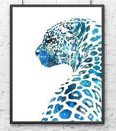 Tierische Kunst Watercolor Painting Print Leopard von Thenobleowl