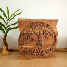Wall Decor..Hand carved Tree of LifePanel