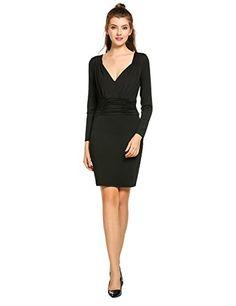 ANGVNS Women Sexy Vneck Long Sleeve Stretchy Bodycon Midi Party Cocktail Dress  Black XL   Check 4643b670d