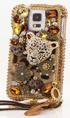 Bling Case with LUX #Leopard Design made for Samsung Galaxy S5. It's also available for iPhone 5/5s, 6s Plus Samsung Note3/4/5, Samsung Galaxy S3/ S4, Nokia Lumia, HTC, LG, Motorola, Black Berry and other phone devices | 100% handcrafted 3D crystal bling case. Fashionable for  women. #iPhoneBlingCase #BlingCase http://luxaddiction.com/collections/3d-designs/products/lux-leopard-design-with-phone-charm-style-422